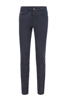 Slim-fit jeans in overdyed stretch-satin denim, Dark Blue