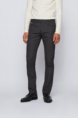 Slim-fit jeans in structured comfort-stretch denim, Black