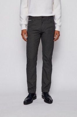 Regular-fit jeans in structured stretch denim, Black
