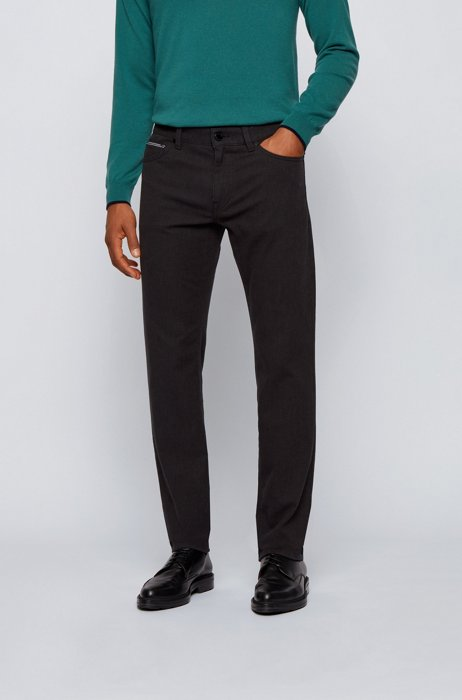 Regular-fit jeans in pinpoint comfort-stretch denim, Light Grey