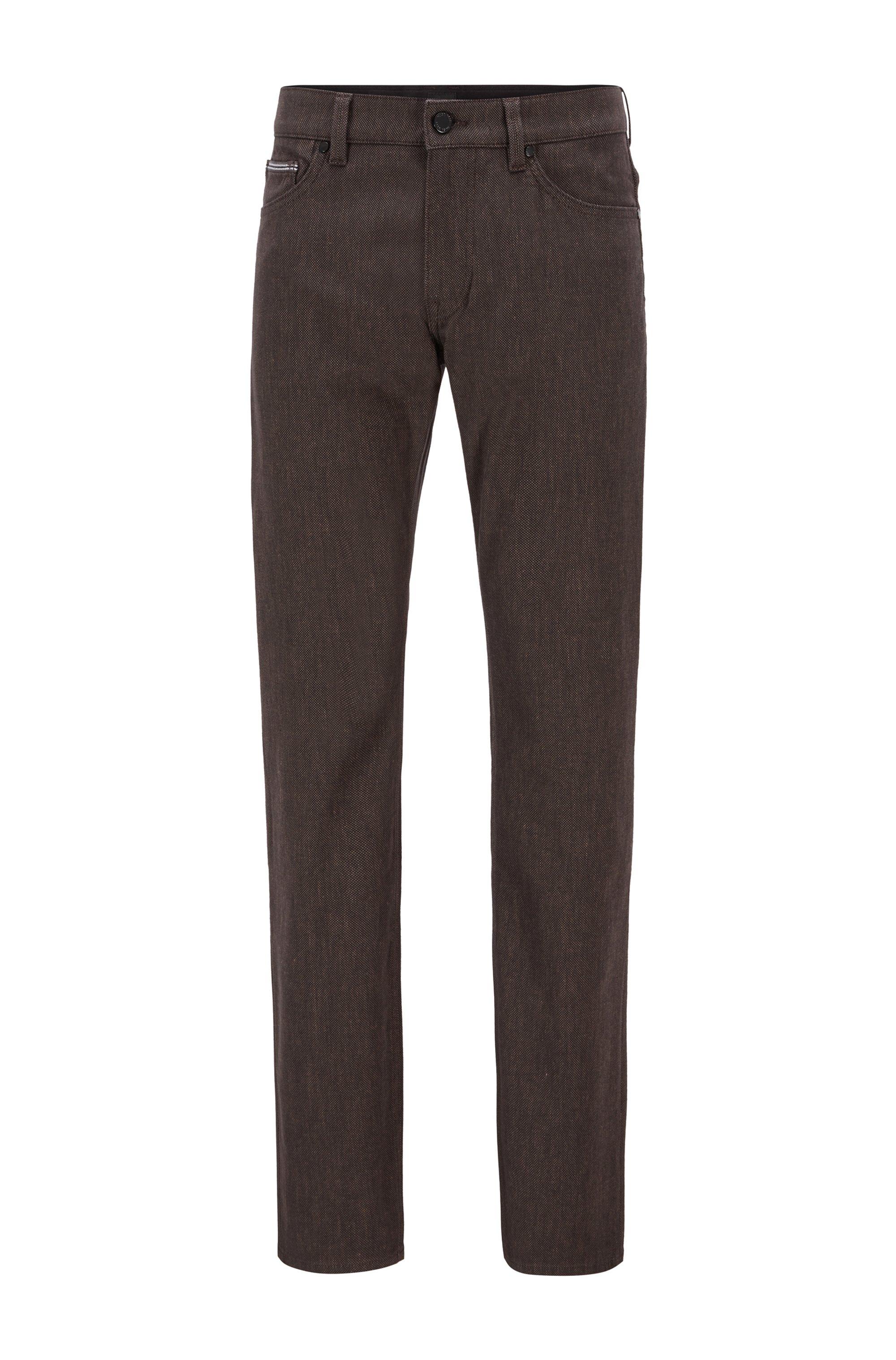 Regular-Fit Jeans aus komfortablem Stretch-Denim mit feinen Punkten, Hellbeige