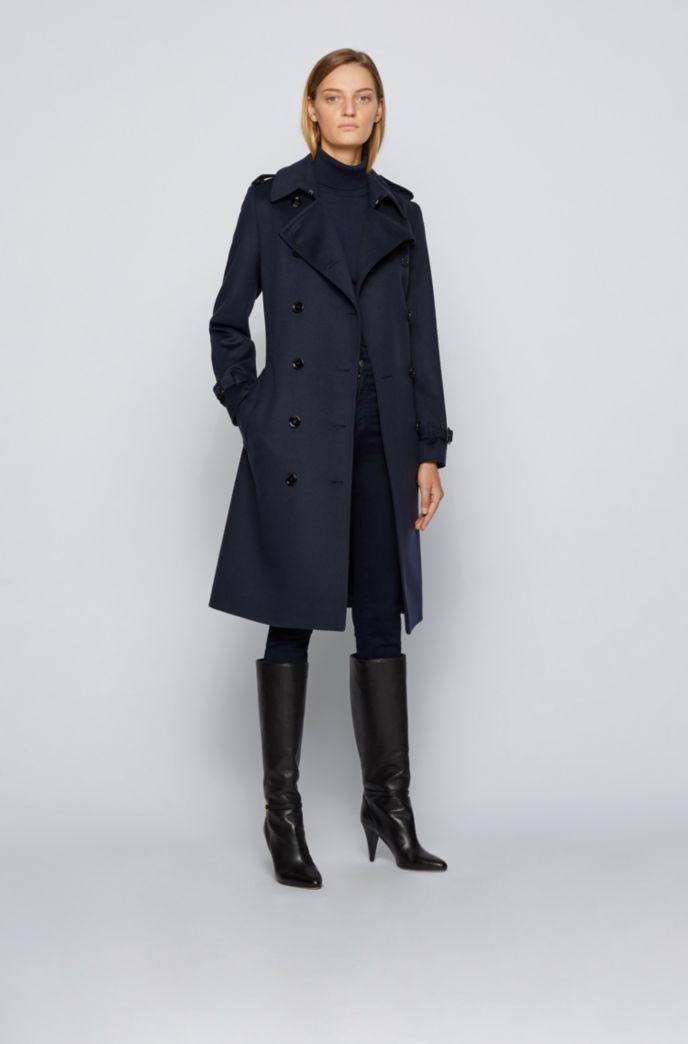 Zweireihiger Regular-Fit Trenchcoat aus nachverfolgbarer Schurwolle