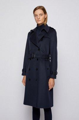 Zweireihiger Regular-Fit Trenchcoat aus nachverfolgbarer Schurwolle, Hellblau