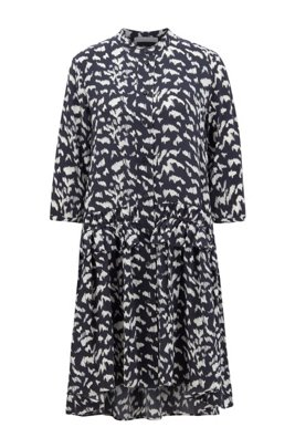 Pony-print shirt dress in lightweight canvas, Patterned