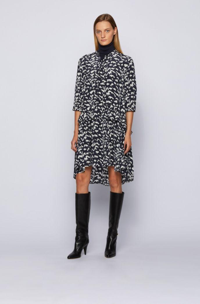 Pony-print shirt dress in lightweight canvas