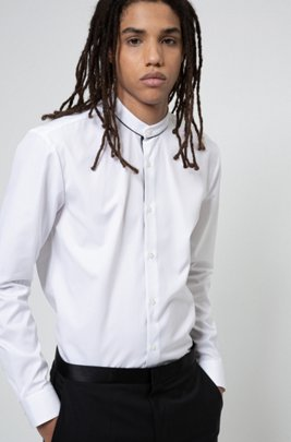 Slim-fit shirt in cotton with piped stand collar, White