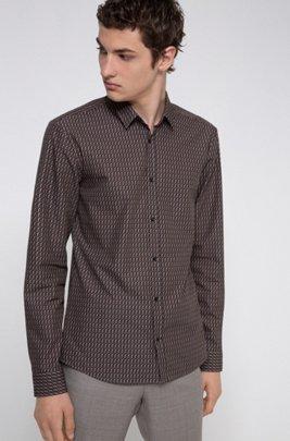 Extra slim-fit overhemd van katoen met geometrische print, Lichtbruin