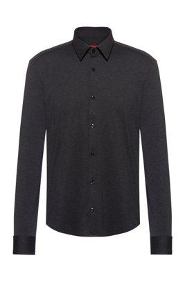 Meliertes Slim-Fit Hemd aus Stretch-Jersey, Schwarz