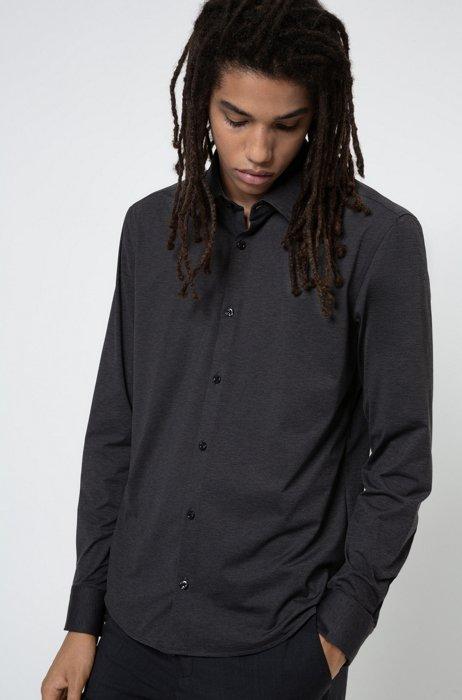 Chemise Slim Fit en jersey stretch chiné, Noir