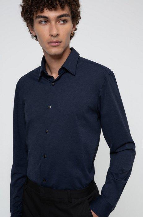 Chemise Slim Fit en jersey stretch chiné, Bleu foncé