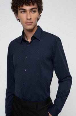 Slim-fit shirt in melange stretch jersey, Dark Blue