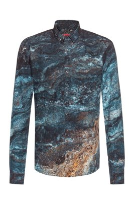 Extra-slim-fit cotton shirt with marble print, Blue