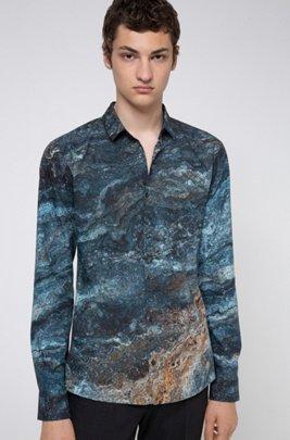 Extra Slim-Fit Hemd aus Baumwolle mit Marble Print, Blau