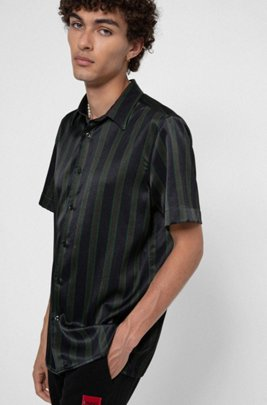 Stripe-print relaxed-fit shirt in stretch twill, Dark Green