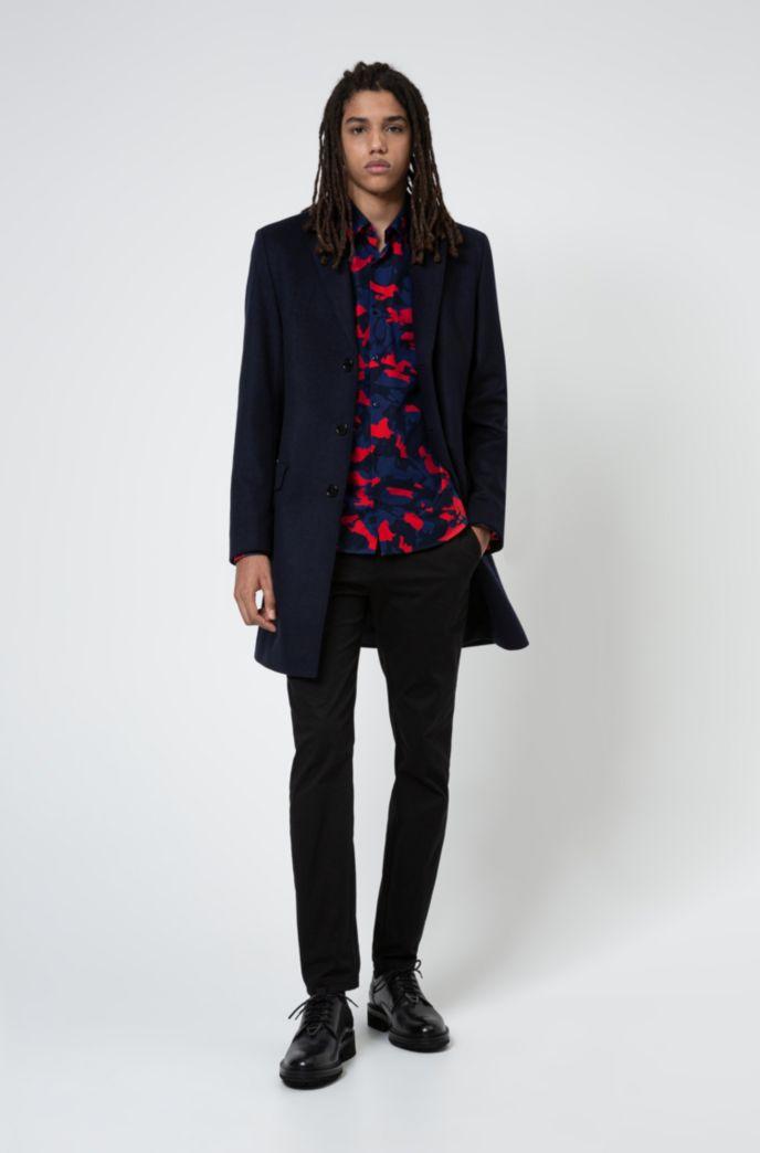 Slim-fit overhemd van katoencanvas met camouflageprint