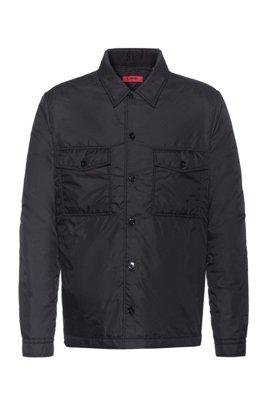 Wattiertes Oversized Hemd , Schwarz
