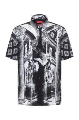 Chemise Relaxed Fit agrémentée d'un imprimé emblématique de la collection, Noir