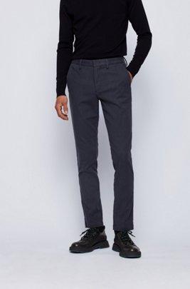 Chino Slim Fit en tissu pinpoint de coton stretch , Bleu foncé