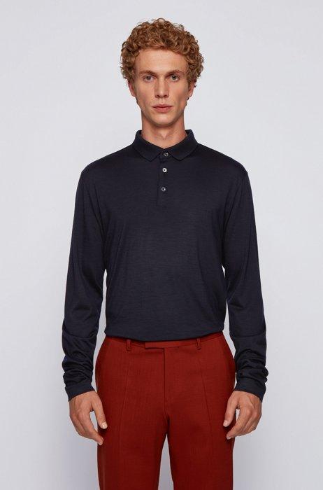 Long-sleeved polo shirt in traceable virgin wool, Dark Blue
