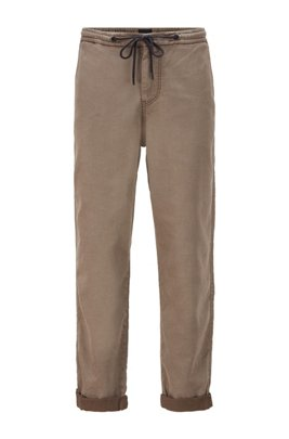 Tapered-fit trousers in stretch fabric with drawstring waist, Khaki
