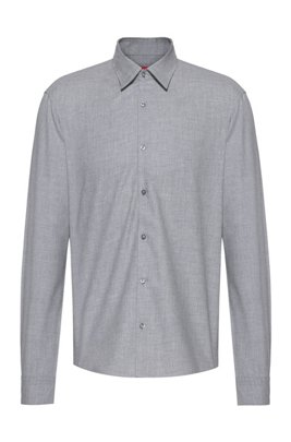 Slim-fit shirt in cotton-twill flannel, Silver