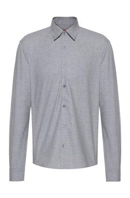 Slim-Fit Flanell-Hemd aus Baumwoll-Twill, Silber