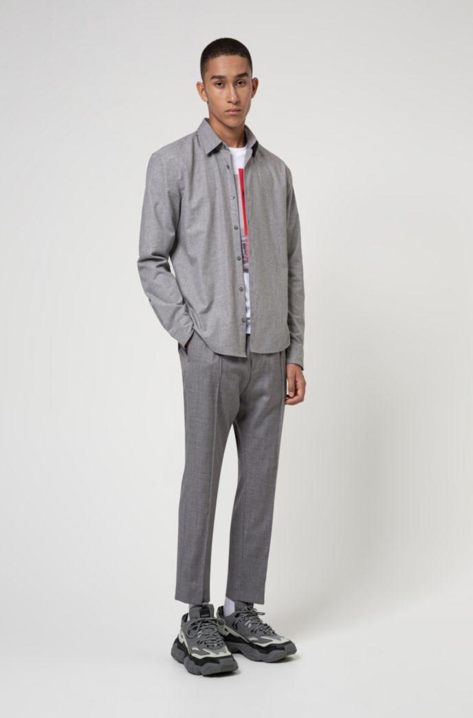 Slim-Fit Flanell-Hemd aus Baumwoll-Twill