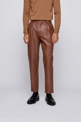 Slim-fit leather trousers with panelling detail, Dark Brown