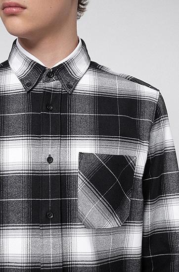 格伦格纹棉质法兰绒宽松版衬衫,  001_黑色
