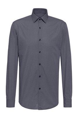 Camicia slim fit in tela di cotone con microstampa, Blu scuro