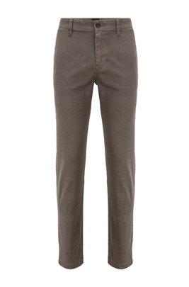 Tapered-fit chinos in micro-patterned stretch denim, Khaki