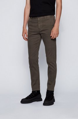 Tapered-fit chino van stretchdenim met microdessin, Kaki