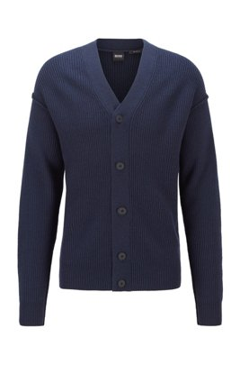 Relaxed-fit cardigan with rubberised buttons, Dark Blue