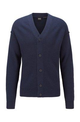 Relaxed-fit vest met gerubberde knopen, Donkerblauw