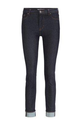 Slim-Fit Jeans aus Denim mit Rinse-Waschung, Dunkelblau