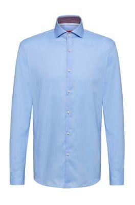 Slim-fit overhemd van fijngeweven katoen met gespreide kraag, Lichtblauw