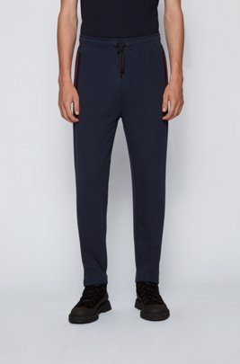 Sueded-jersey trousers with placement logo print, Dark Blue