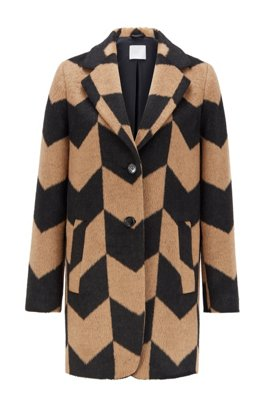 Relaxed-fit coat in textured fabric with chevron pattern, Patterned