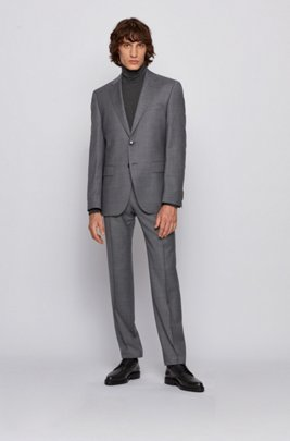Regular-fit suit in virgin-wool serge, Silver