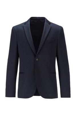 Veste Slim Fit en laine vierge italienne à la traçabilité garantie, Bleu foncé