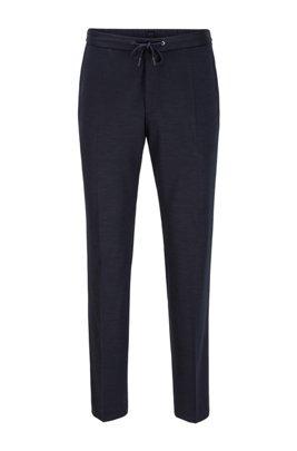 Pantalon Slim Fit en laine vierge italienne à la traçabilité garantie, Bleu foncé