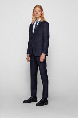 Slim-fit pak van geruite wol met zachte constructie, Donkerblauw