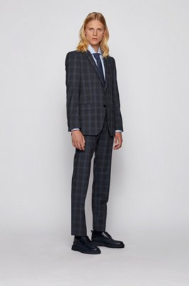 Slim-Fit Anzug aus Schurwolle mit Glencheck-Muster, Dunkelblau