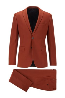 Costume Extra Slim Fit à motif en laine vierge stretch, Orange clair