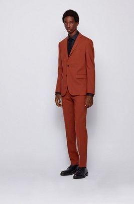 Costume Extra Slim Fit à motif en laine vierge stretch, Orange clair