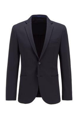 Veste Slim Fit en tissu stretch, à la construction souple, Bleu foncé