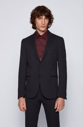 Slim-fit jacket in stretch fabric with soft construction, Dark Blue
