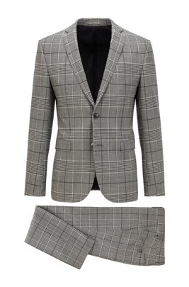 Extra-slim-fit suit in checked stretch wool, Black