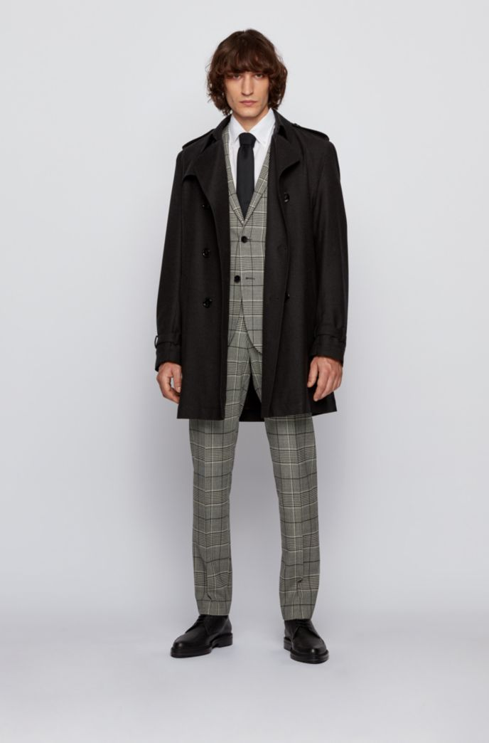 Extra-slim-fit suit in checked stretch wool