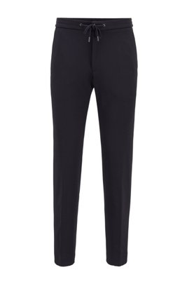 Slim-fit trousers in stretch fabric with drawstring waist, Dark Blue